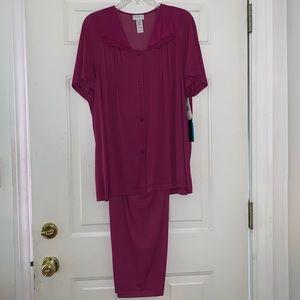 1X Vanity Fair Coloratura Plum Silky Pajamas NWT